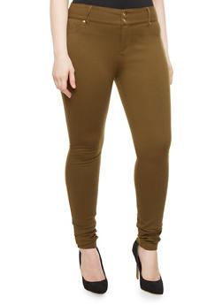 Plus Size Mid-Rise Solid Jeggings With Curved Stitch Back Pockets - 1870068198051
