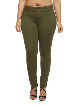 Plus Size Solid Knit Jeggings - OLIVE - 1870068198052
