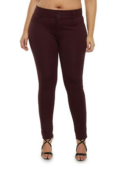 Plus Size Solid Knit Jeggings - 1870068198052