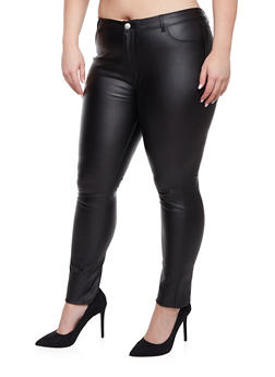Plus Size Faux Leather Pants - 1870068199142