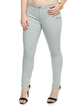 Plus Size Skinny Zipper Trim Jeggings - CLOUD - 1870068199448
