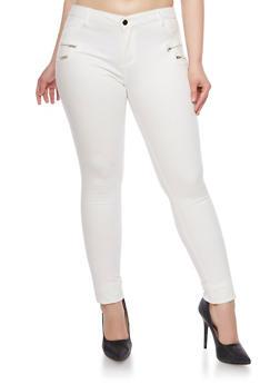 Plus Size Skinny Pants with Zipper Trim - STOP WHITE - 1870068199448