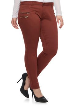 Plus Size Skinny Zipper Trim Jeggings - 1870068199448