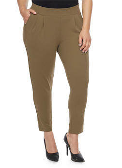 Plus Size Pleated Ankle Pants - 1870068199799