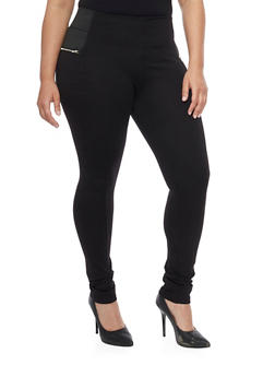 Plus Size Elastic Waist Moto Zip Jeggings - 1870068199829