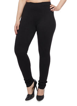 Plus Size Fitted Ponte Knit Trousers - 1870068199845