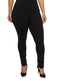 Plus Size 2 Back Pockets Jeggings - 1870068199869