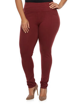 Plus Size 2 Back Pockets Jeggings - 1870068199869