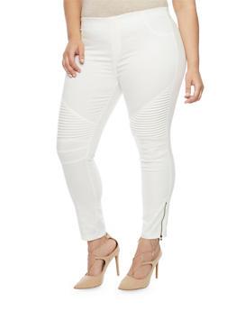 Plus Size Zip Moto Twill Jeggings - WHITE - 1870068199885