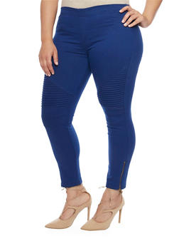 Plus Size Zip Moto Twill Jeggings - 1870068199885