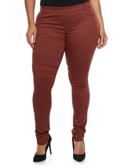 Plus Size Shinestar Pull On Moto Jeans - WINE - 1870068199886