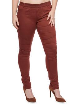 Plus Size Shinestar Pull On Moto Jeans - BURGUNDY - 1870068199886