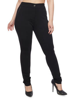 Plus Size High Waisted Knit Skinny Pants - 1870068199896
