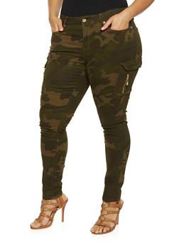 Plus Size Camouflage Cargo Skinny Pants - 1870069390246
