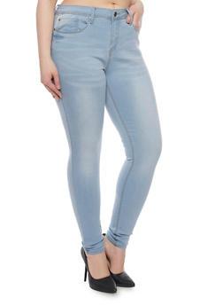 Plus Size Basic Light Wash Skinny Jeans - 1870069390369