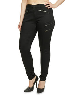 Plus Size Zip Pocket Cargo Skinny Pants - 1870069395951
