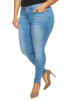 Plus Size Faded Skinny Jeans - 1870069398066