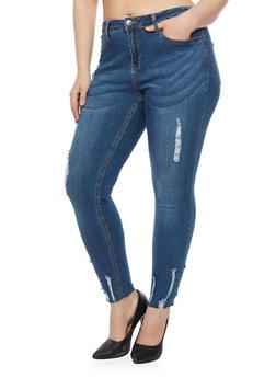 Plus Size Skinny Jeans with Frayed Hem - 1870069398600