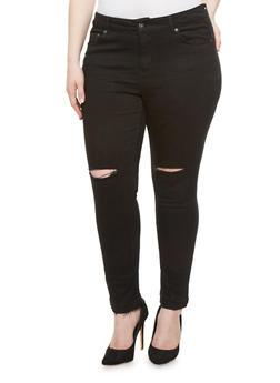 Plus Size Ripped Knee Skinny Jeans with Released Hem,BLACK DENIM,medium