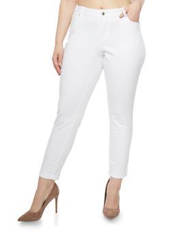 Plus Size WAX Rolled Cuff Skinny Jeans - 1870071610045