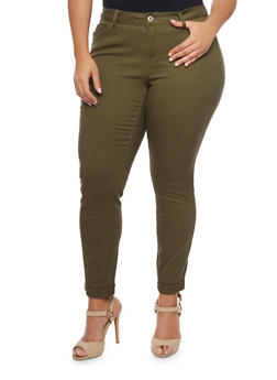 Plus Size WAX Rolled Cuff Skinny Jeans - 1870071610045