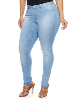 Plus Size WAX Whiskered Stretch Skinny Jeans - 1870071610052