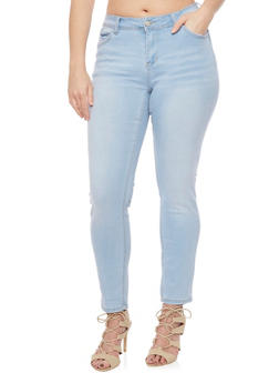 Plus Size WAX Classic Whisker Wash Skinny Jeans - 1870071610054