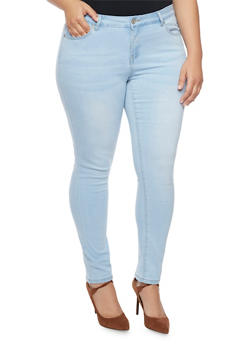 Plus Size WAX Whisker Wash Skinny Jeans - 1870071610093