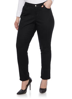 Plus Size Solid Wax Skinny Jeans - 1870071610100