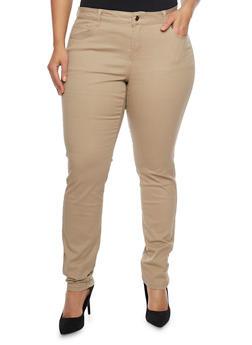Plus Size Solid Wax Skinny Jeans - KHAKI - 1870071610100