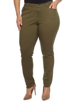 Plus Size Solid Wax Skinny Jeans - OLIVE - 1870071610100