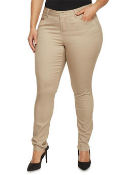 Plus Size Solid Wax Skinny Jeans - 1870071610301