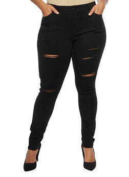 Plus Size Wax Ripped Detailed Skinny Jeans - 1870071610902