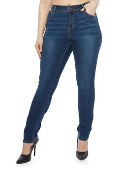 Plus Size Wax Jeans with Light Whiskering - 1870071610903