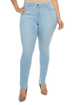 Plus Size WAX Light Wash Skinny Jeans - 1870071610915