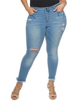 Plus Size Wax Frayed Jeans - 1870071610947
