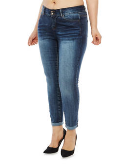 Plus Size WAX 2 Button Cuffed Jeans - 1870071610950