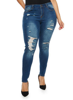 Plus Size WAX Destroyed Push Up Skinny Jeans - 1870071610993