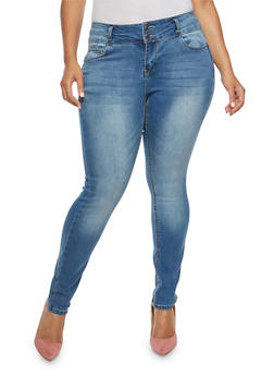 Plus Size WAX 2 Button Push Up Jeans - 1870071611265