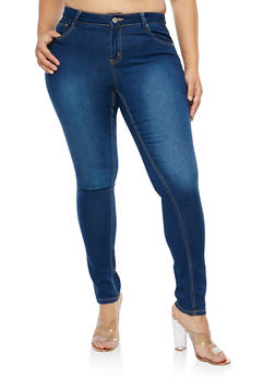 Plus Size WAX Basic Skinny Jeans - 1870071611914
