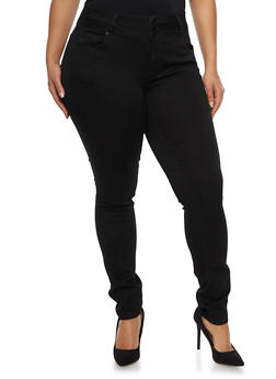 Plus Size Wax Jeans with Three Buttons - 1870071613400