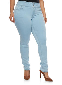 Plus Size WAX Triple Button Skinny Jeans - 1870071613400