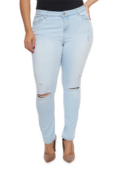 Plus Size WAX Distressed Push Up Jeans - 1870071613501