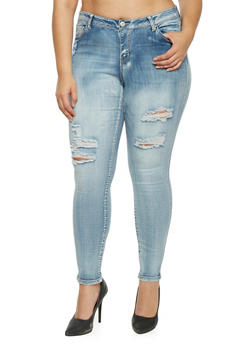 Plus Size WAX Distressed Skinny Jeans - 1870071619046