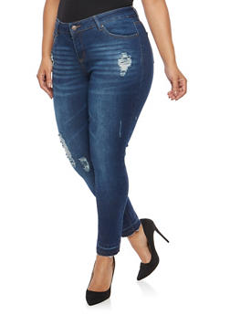 Plus Size WAX Distressed Whisker Wash Jeans - 1870071619049