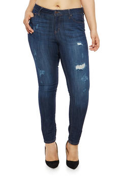 Plus Size WAX Distressed Skinny Jeans - 1870071619080
