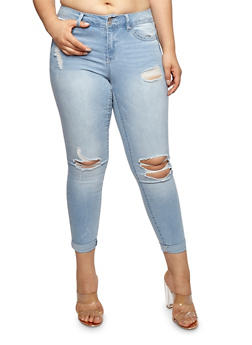 Plus Size WAX Distressed Push Up Jeans - 1870071619085