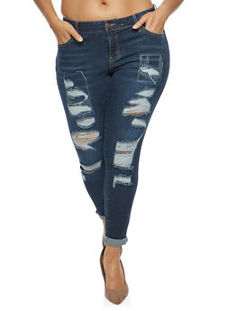 Plus Size WAX Destroyed Denim Jeans - 1870071619101