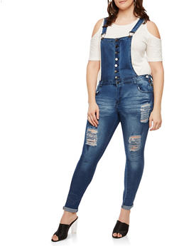 Plus Size Distressed Denim Overalls - 1870072290037