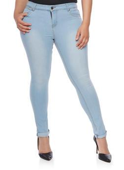 Plus Size Cuffed Skinny Jeans - 1870072290148